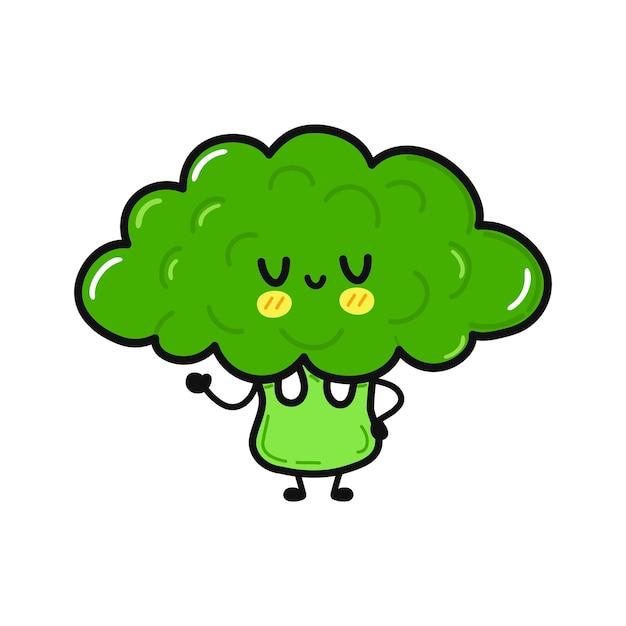 Cute funny broccoli waving hand character