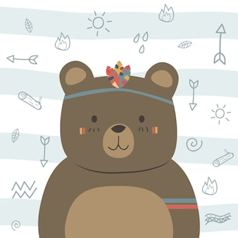 Cute funny brown teddy bear boho tribal cartoon doodle