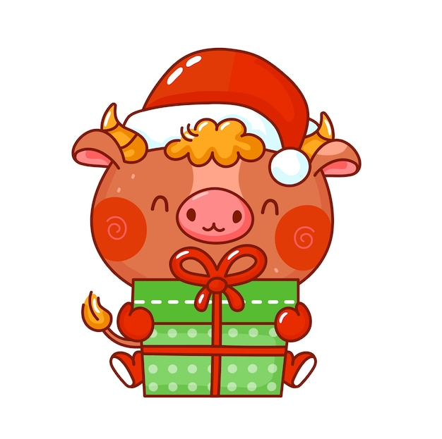 クリスマスキャップキャラクターのかわいい面白い雄牛