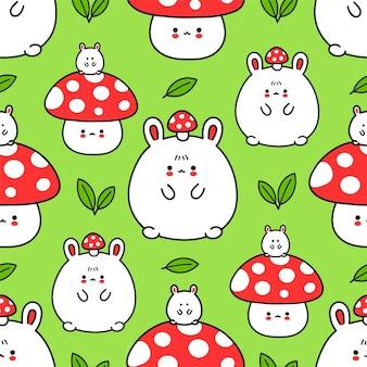 귀여운 재미 있는 토끼와 마니타 버섯은 매끄러운 패턴입니다. 벡터 손으로 그린 만화 귀여운 캐릭터 그림 바탕 화면 아이콘입니다. 토끼, 토끼, 버섯 버섯, 원활한 패턴 개념