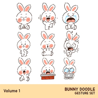 Cute funny bunny doodle gesture character set