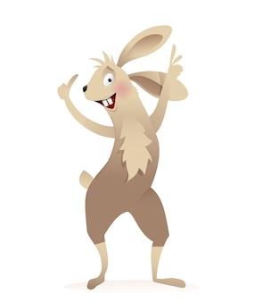 かわいい面白いウサギやウサギの動物のショーやグリーティングカードの空白のデザイン。白で隔離の水彩画のスタイルで、子供のためのかわいい動物のキャラクターデザイン。