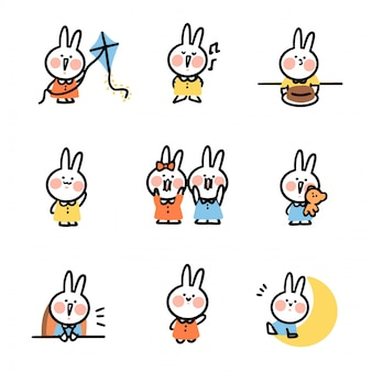 Cute funny bunny rabbit doodle sticker asset set collection vol. 2 by arkana studio