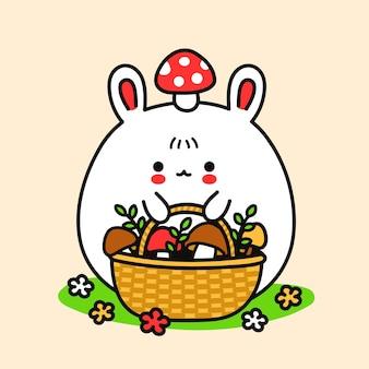 머리에 바구니와 마니타 버섯이 있는 귀여운 재미있는 토끼. 벡터 손으로 그린 만화 귀여운 캐릭터 그림 스티커 로고 아이콘. 토끼, 버섯 바구니가 있는 토끼, 버섯 개념