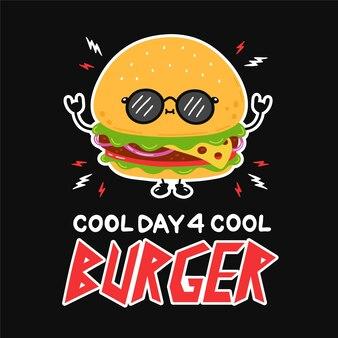 サングラスでかわいい面白いハンバーガー