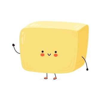 Милый забавный персонаж сливочного масла. рисованной иллюстрации персонажа из мультфильма каваи. изолированные на белом фоне. концепция характера сливочного масла