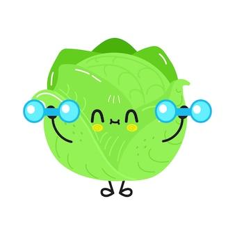 Милый забавный персонаж капусты с гантелями