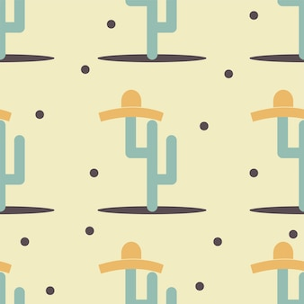 Симпатичный забавный кактус с принтом сомбреро для текстуры и бесшовного текстильного дизайна. абстрактные векторные иллюстрации для фонового рисунка. плоский стиль