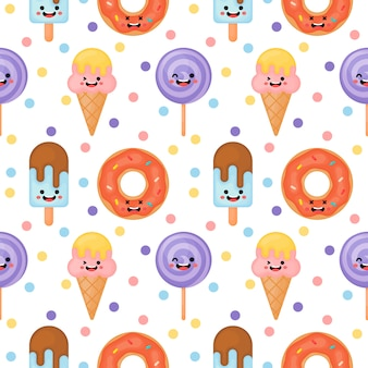 Cute funny candy seamless pattern