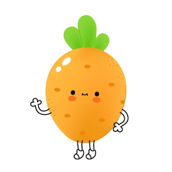 Cute funny carrot vegetable with face