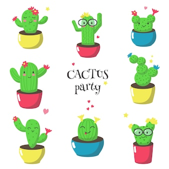 Cute funny cartoon cactuses,