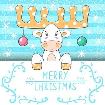 Cute, funny cartoon deer illustration.