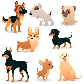 Cute funny cartoon dogs