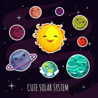 Cute and funny cartoon planets stickers of solar planetary system.