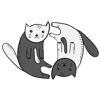 귀여운 재미있는 만화 음과 양 고양이 기호입니다. 흑백 스케치 손으로 그린 사려깊은 새끼 고양이