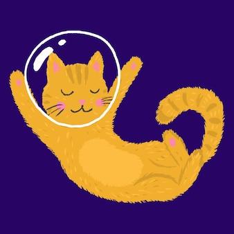 공간에서 귀여운 재미 있은 고양이 우주 비행사. 어린이 티셔츠와 옷을 인쇄하십시오. 벡터 일러스트입니다.
