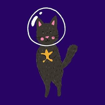 Cute funny cat astronaut in space.