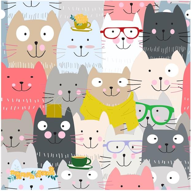 Cute funny cat cartoon seamless pattern
