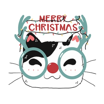 Cute funny cat face wear reindeer glasses merry christmas lettering and festive light