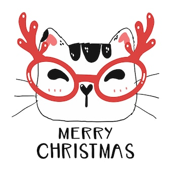 Cute funny cat face wear reindeer glasses with merry christmas