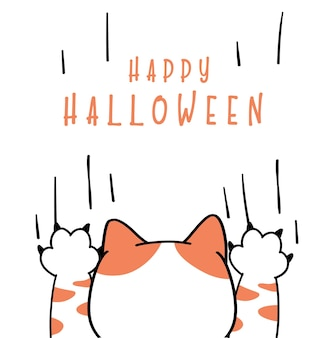 Cute funny cat playful ghost paw  happy halloween costume card cartoon doodle flat vector