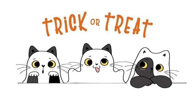 Cute funny cat playful ghost trick or treat happy halloween costume cartoon doodle flat vector
