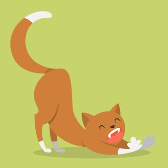 Cute funny cat stretching after sleeping. domestic animal