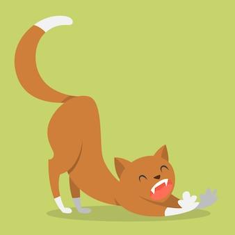 Милый забавный кот растяжения после сна. домашнее животное