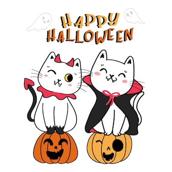 Cute funny cat with witch spider happy halloween costume cartoon doodle outline flat vector