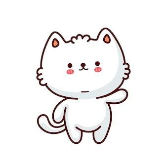Милый забавный кот. Premium векторы