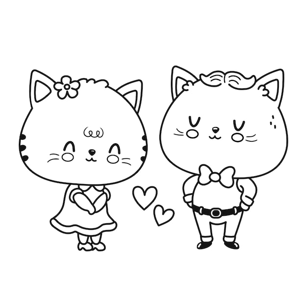 かわいい面白い猫のカップル。ベクトルフラットライン漫画かわいいキャラクターイラストアイコン。白い背景で隔離。塗り絵の孤立したアウトライン漫画イラスト
