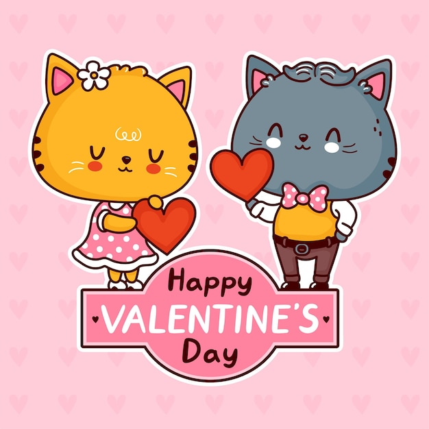 Cute funny cats couple with hearts