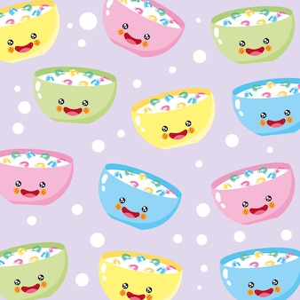 Cute and funny cereal smiling pattern