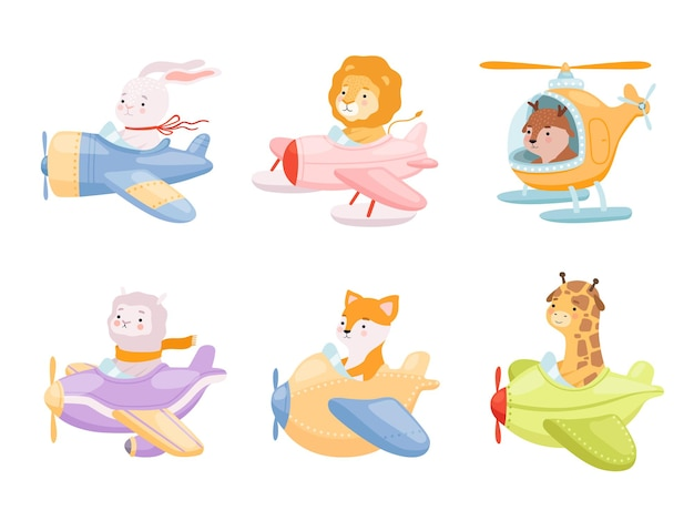 Cute funny characters in airplanes transport flight heroes mascot collections.