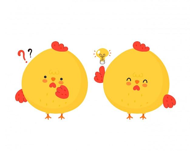 물음표와 아이디어 전구 귀여운 재미 닭 수 탉. 만화 캐릭터 일러스트 아이콘 design.isolated