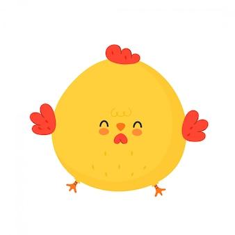 귀여운 재미있는 닭 수탉.
