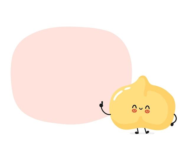 텍스트 상자가 있는 귀여운 재미있는 병아리콩 캐릭터