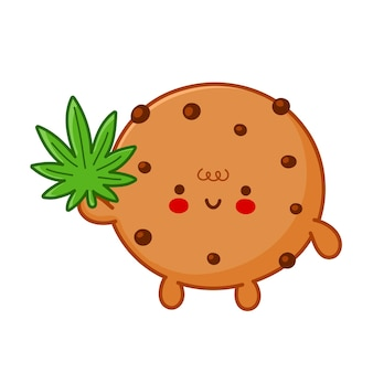 マリファナ雑草の葉のキャラクターとかわいい面白いチョコレートクッキー