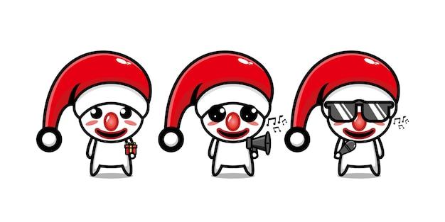 クリスマスを祝うかわいい面白いピエロのキャラクターベクトルフラットラインかわいい漫画のキャラクター