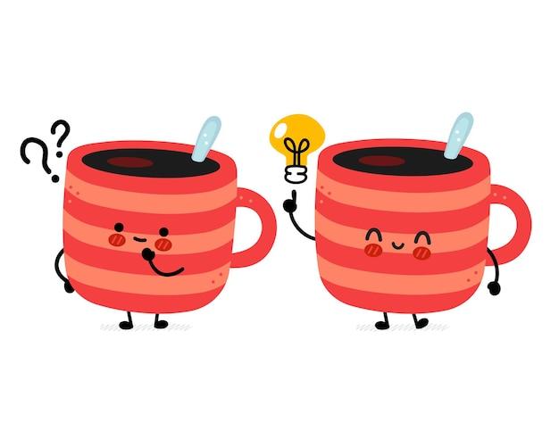 물음표와 아이디어 전구 귀여운 재미있는 커피 잔