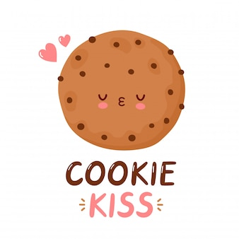 Cute funny cookie.  cartoon character hand drawing style illustration. isolated on white background. cookie kiss