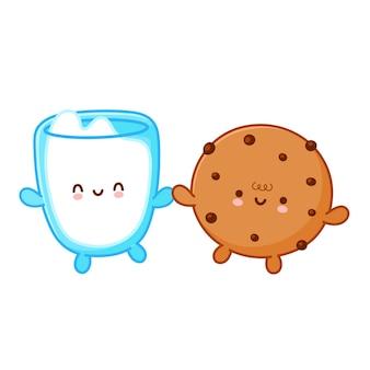 초콜릿 칩과 우유 유리와 함께 귀여운 재미있는 쿠키