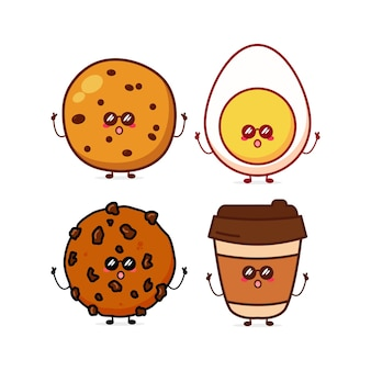 Cute funny cookieseggcoffee expression character vector hand drawn cartoon mascot character