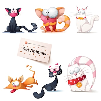Cute, funny, crazy cat illustration