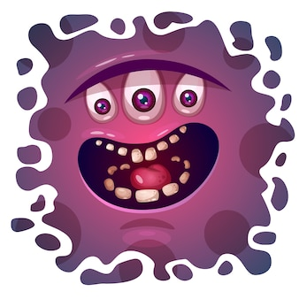 Cute, funny, crazy monster character. helloween illustration