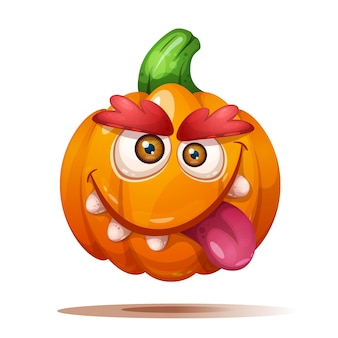 Cute funny crazy pumpkin characters.