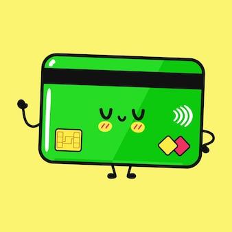 Симпатичная забавная кредитная карта, махающая рукой