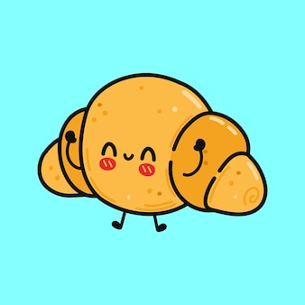 Cute funny croissant character