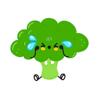 Cute funny crying broccoli character