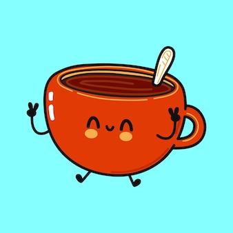 コーヒーキャラクターのかわいい面白いカップ